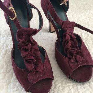 Madden Girl Burgundy Ruffle Heels